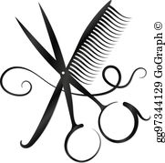 Barber scissors and comb clipart picture royalty free download Hair Scissors Clip Art - Royalty Free - GoGraph picture royalty free download