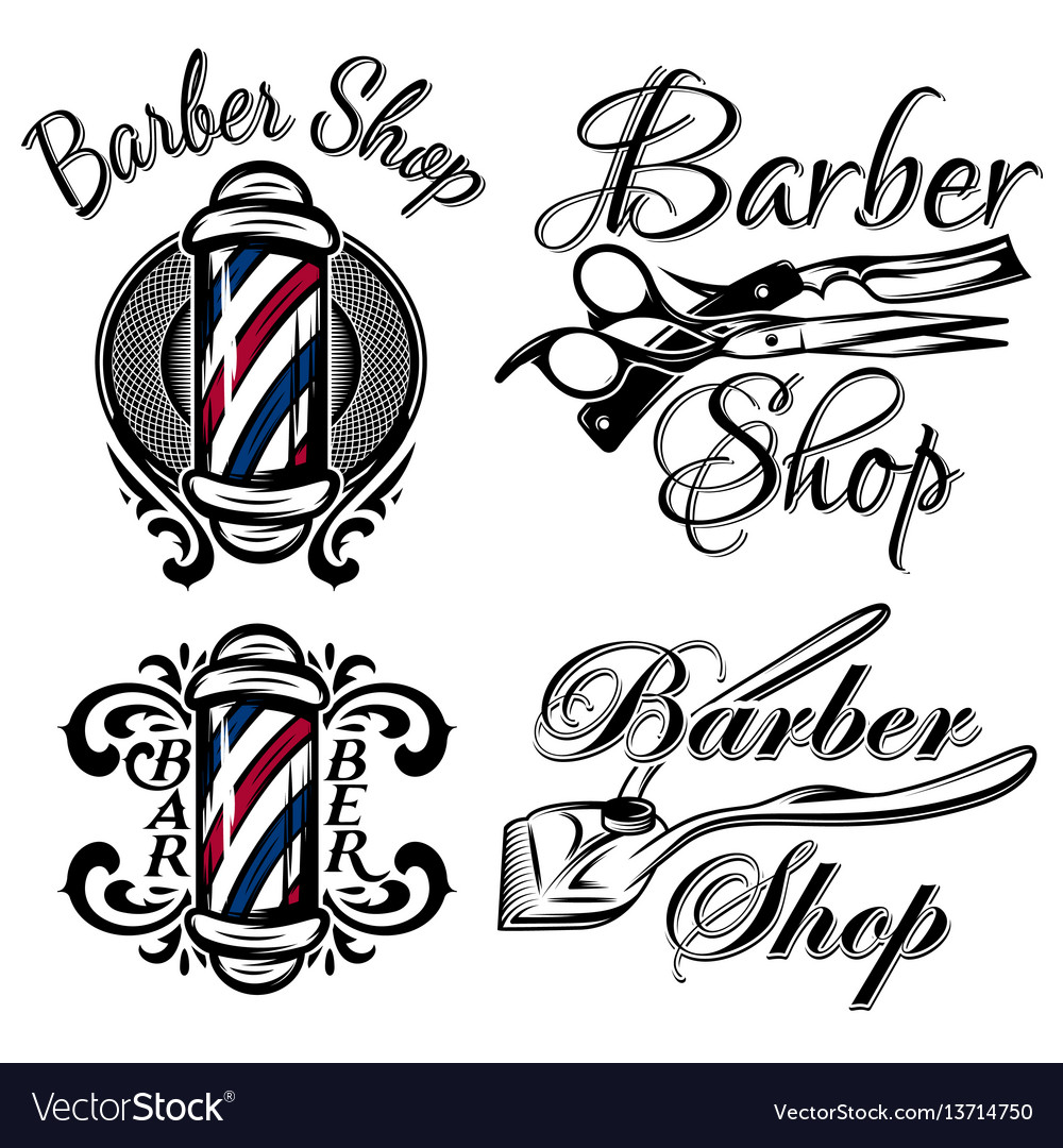 Barber shop logo vector clipart vector freeuse stock Set of retro barber shop logo isolated on the vector freeuse stock