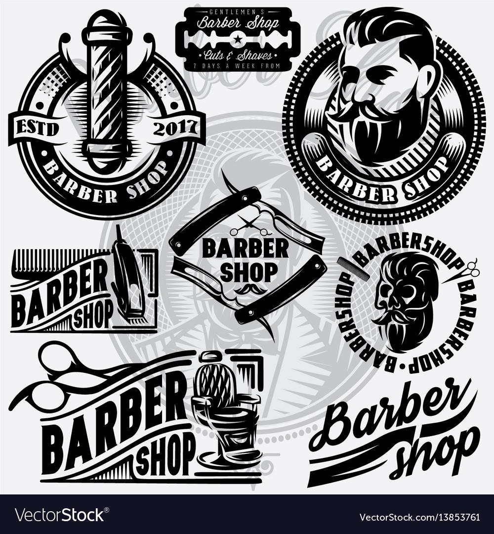 Barber shop logo vector clipart clip freeuse Set of templates for barbershop barbershop logo clip freeuse