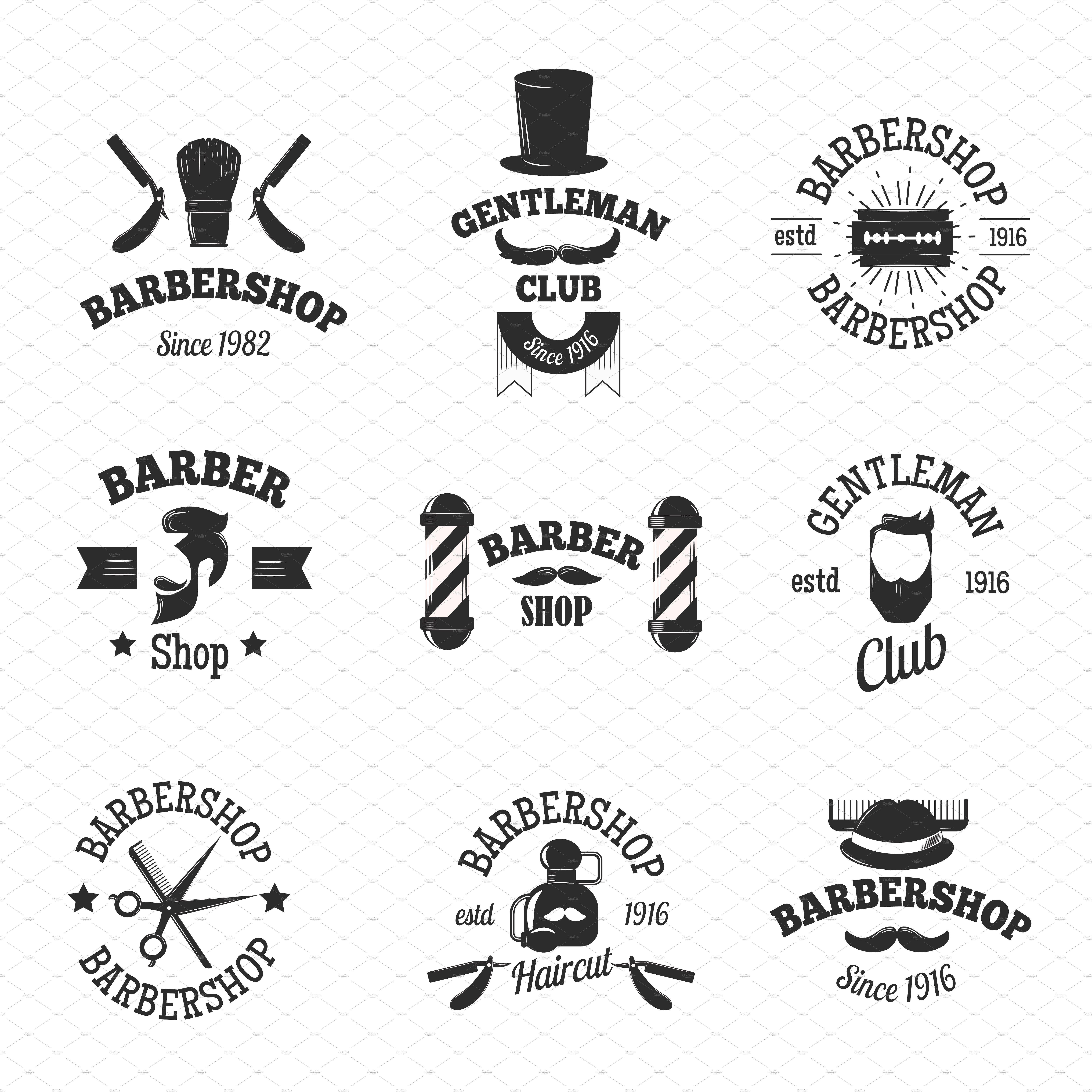 Barbershop icons logos cliparts clip transparent download Barber shops symbols vector set by Vectorstockerland on ... clip transparent download