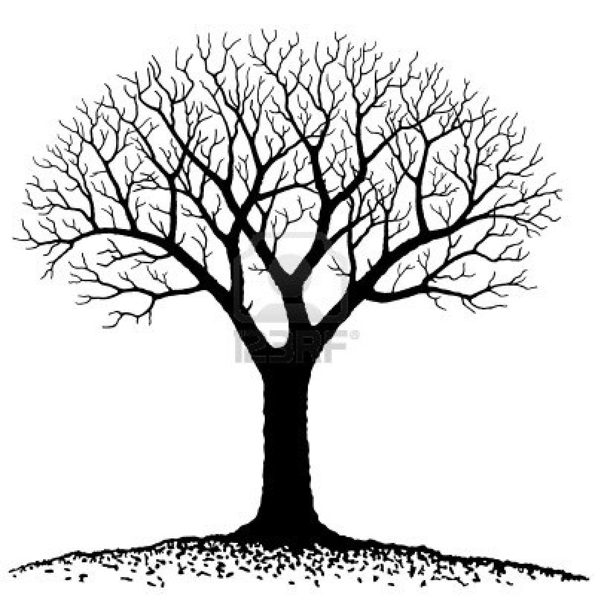 Bare oak tree clipart black and white image black and white download Stock Vector | Felting Inspiration | Bare tree, Tree silhouette ... image black and white download