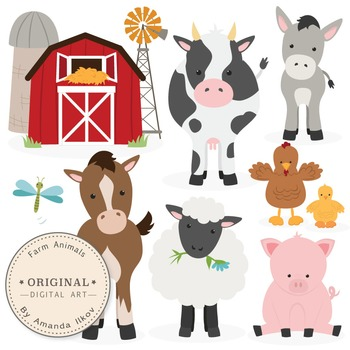 Clipart of farm animals clip transparent download Premium Farm Animals Clip Art & Vectors - Farm Animals Clipart, Barn ... clip transparent download