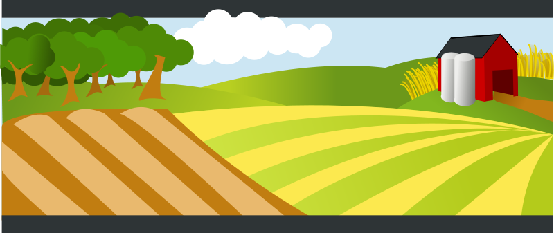 Barn on hill clipart banner royalty free library Free Clipart: Landscape with red farm | rg1024 banner royalty free library