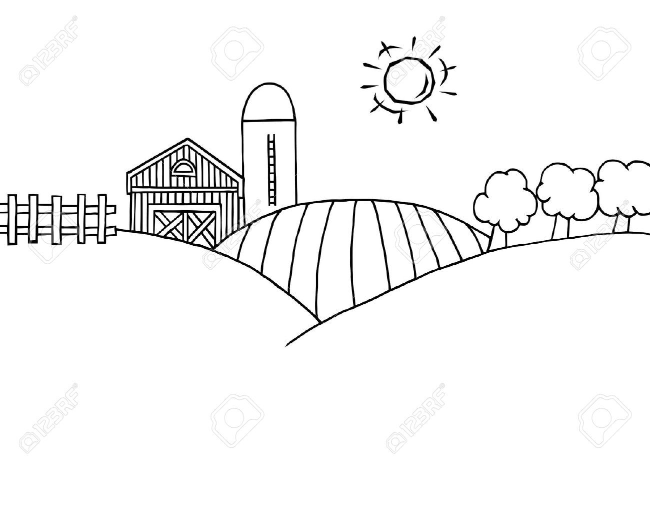 Stock vector crafts farm. Free clipart black and white play farming