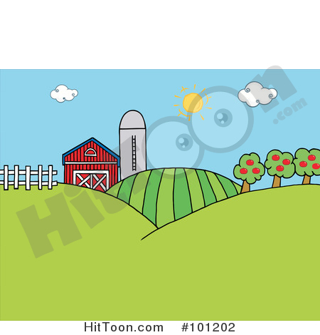Barn on hill clipart vector freeuse Hill Clipart Farm Land - Pencil And In Col #79851 - Clipartimage.com vector freeuse