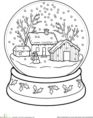 Barn snow globes clipart steps to draw image Snow Globe Coloring Page | CHRISTMAS | Christmas coloring pages ... image