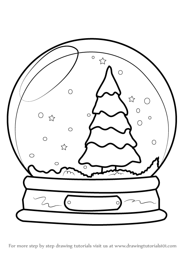 Barn snow globes clipart steps to draw jpg black and white Snow Globe Sketch at PaintingValley.com | Explore collection of Snow ... jpg black and white