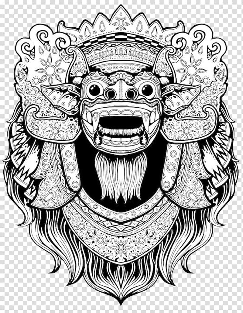 Barong bali clipart clip download White and black foo dog illustration, Balinese art T-shirt Barong ... clip download