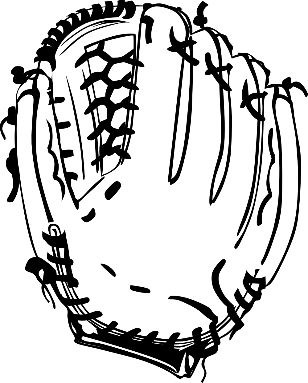 Glove black and white. Baseball related clipart