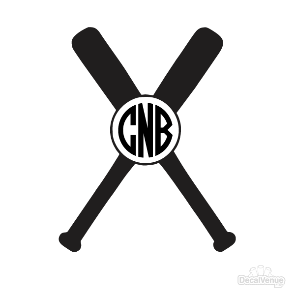 Baseball and bat with monogram in middle clipart jpg stock Baseball Bat Monogram Initials Decal jpg stock