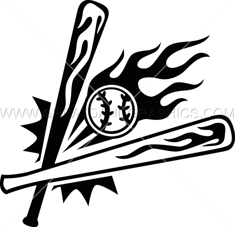 Baseball bat and ball clipart picture free stock Flaming Baseball Bats & Ball | Production Ready Artwork for T-Shirt ... picture free stock