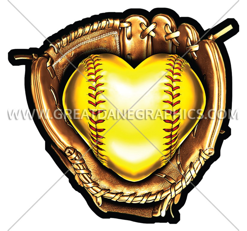 Baseball and glove clipart royalty free stock Fastpitch Heart | Production Ready Artwork for T-Shirt Printing royalty free stock