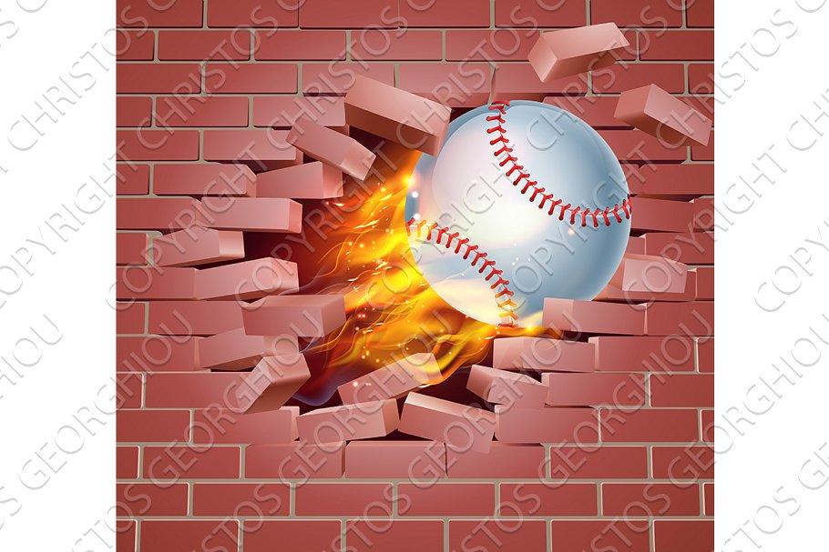 Baseball ball breaking glass clipart
