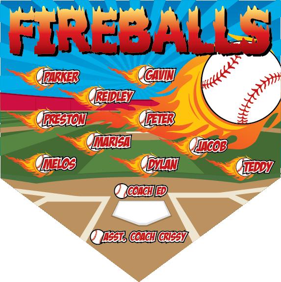 Baseball banner clipart banner royalty free download Fireballs Custom Home Plate Banner - Custom Baseball / Softball Home ... banner royalty free download