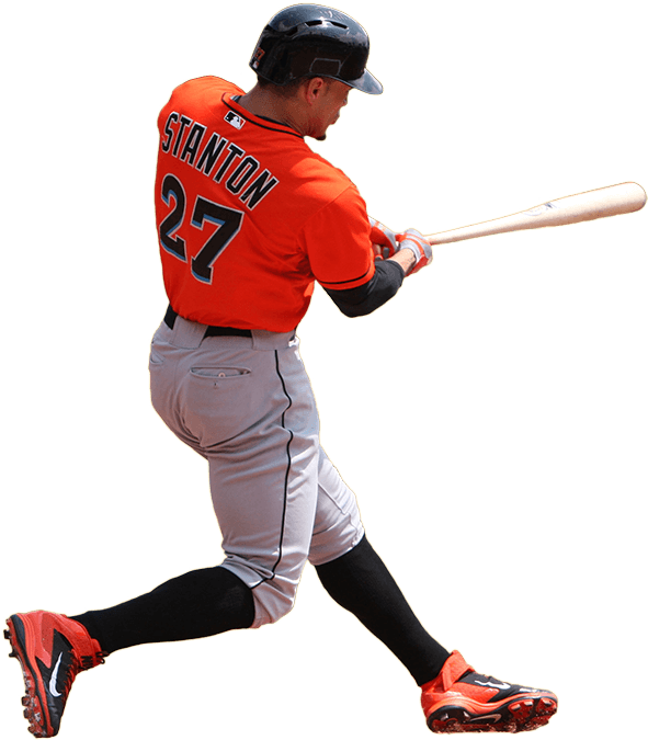 Baseball player swinging a bat clipart vector free download What Pros Wear Giancarlo Stanton (Bat, Glove, Cleats, Batting Gloves ... vector free download