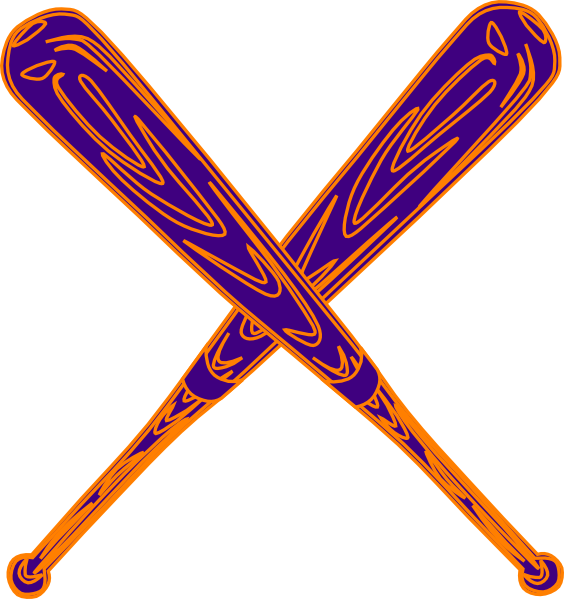 Crossed baseball bat clipart clip royalty free Baseball Bat Purple And Orange Clip Art at Clker.com - vector clip ... clip royalty free