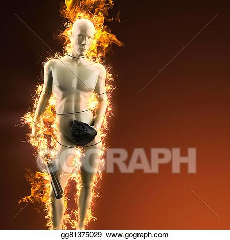 Baseball bat on fire clipart black and white stock Clipart - Mannequin with baseball bat in fire. Stock Illustration ... black and white stock