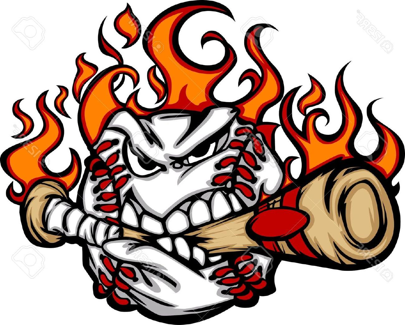 Baseball bat on fire clipart jpg black and white library Softball With Flames | Free download best Softball With Flames on ... jpg black and white library