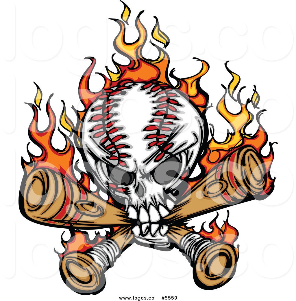 Baseball bat on fire clipart picture black and white download Royalty Free Vector of a Logo of a Baseball Skull Biting Crossed ... picture black and white download