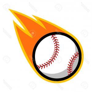 Baseball bat on fire clipart image freeuse Photostock Vector Baseball Sport Comet Fire Tail Flying Logo | SOIDERGI image freeuse