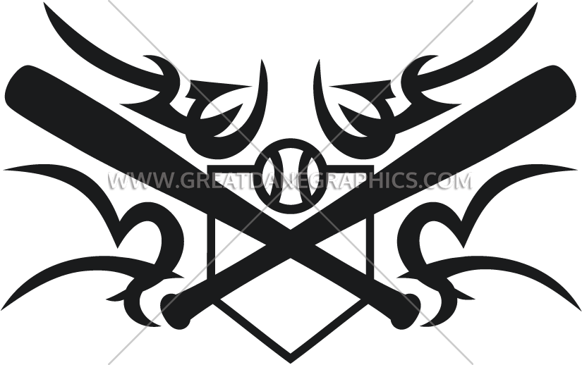 Tribal baseball clipart graphic free stock Tribal Baseball Bat & Plate Crest | Production Ready Artwork for T ... graphic free stock