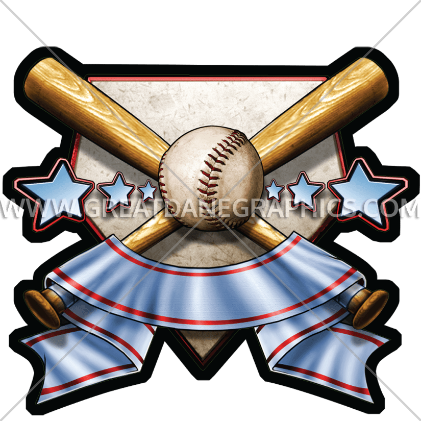 Baseball bat sword clipart graphic library Baseball Crest   Production Ready Artwork for T-Shirt Printing graphic library
