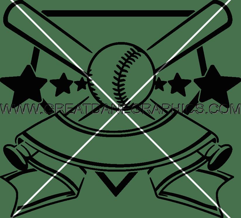 Baseball bat sword clipart freeuse download Baseball Crest   Production Ready Artwork for T-Shirt Printing freeuse download