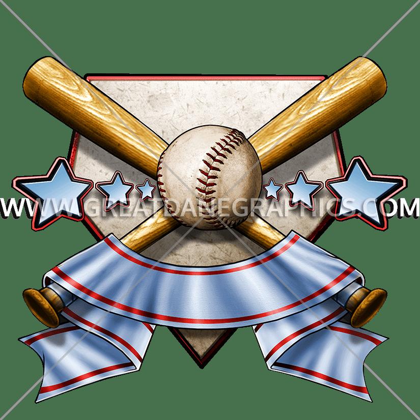 Baseball bat sword clipart graphic library download Baseball Crest   Production Ready Artwork for T-Shirt Printing graphic library download