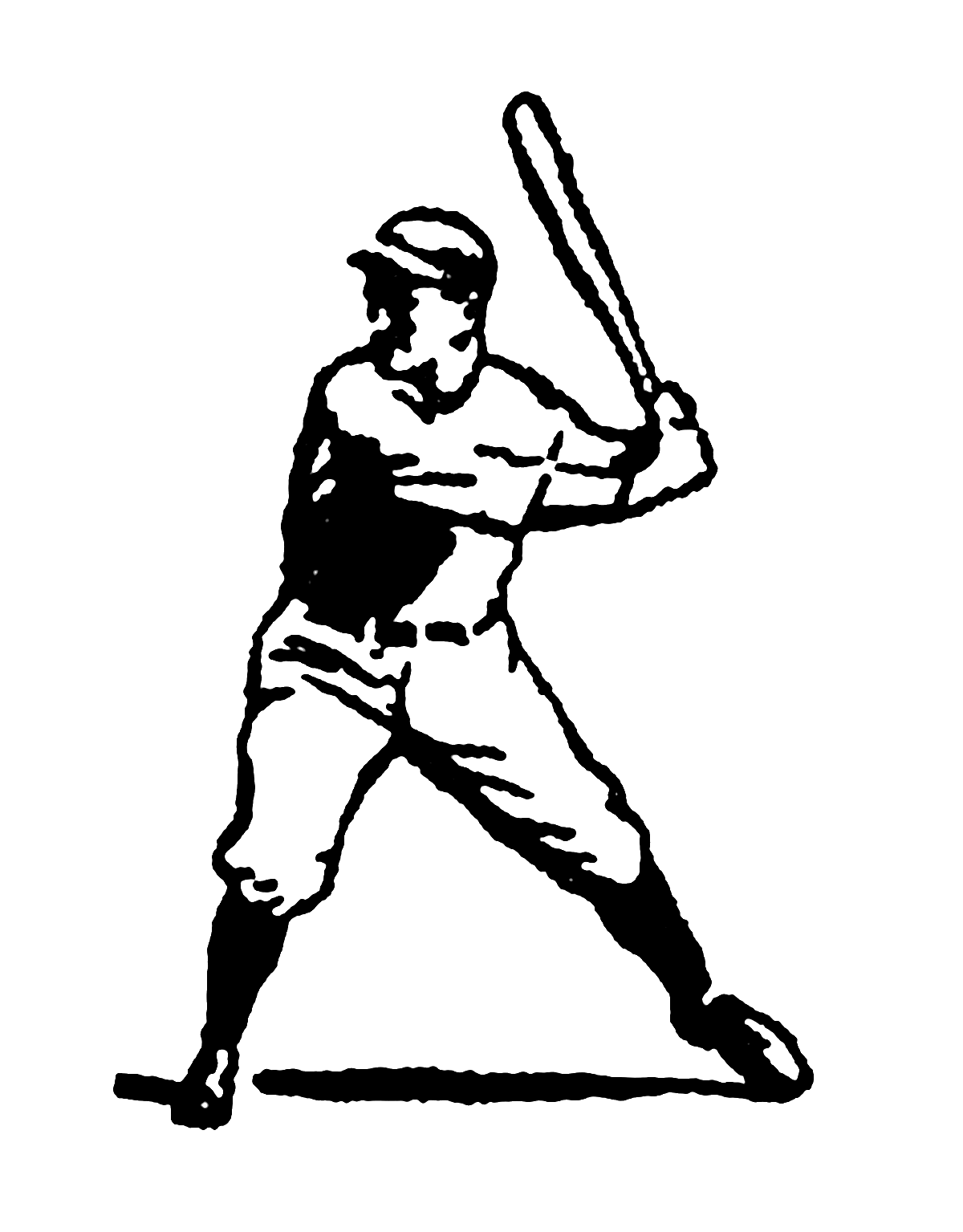 Batter baseball clipart vector freeuse Digital Stamp Design: Vintage Stock Sports Clip Art Illustrations ... vector freeuse