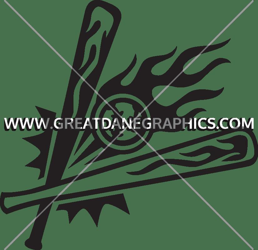 Baseball black and white clipart design clip art royalty free library Flaming Baseball Bats & Ball | Production Ready Artwork for T-Shirt ... clip art royalty free library