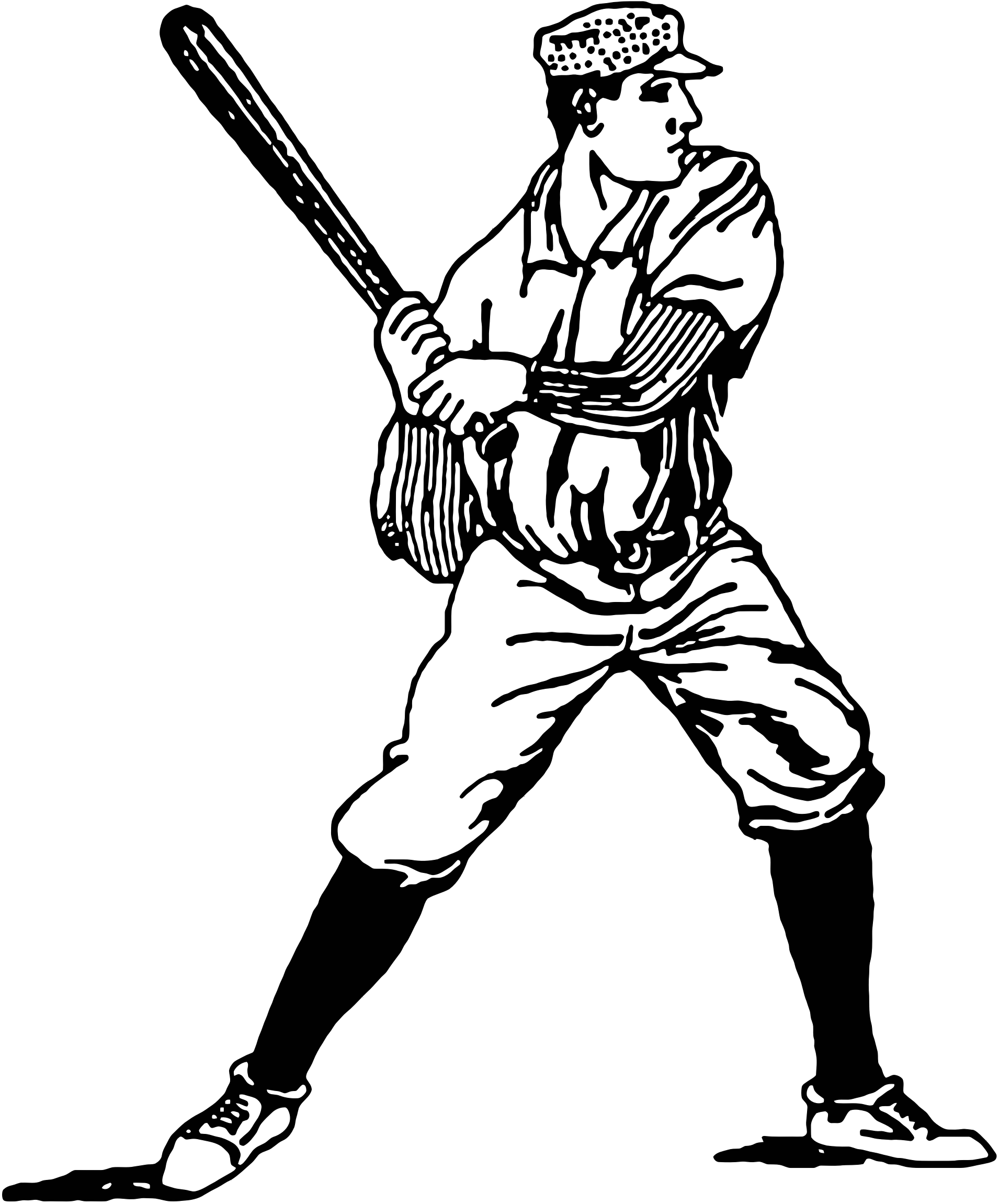 Clipart - Vintage Baseball Player Illustration clip black and white