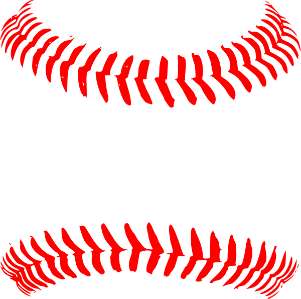 Red clip art at. Baseball stitching clipart