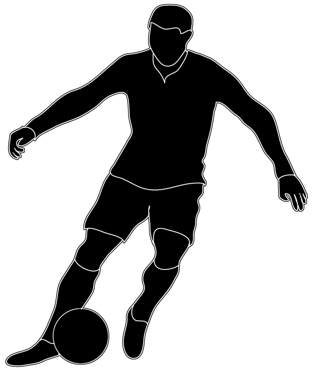 Free football player and cheerleader clipart black and white clip art transparent library black white silhouette soccer player | Art ideas | Pinterest ... clip art transparent library