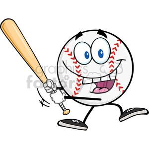 Baseball cartoon clipart images jpg black and white download Happy Baseball Ball Swinging A Baseball Bat clipart. Royalty-free clipart #  396087 jpg black and white download