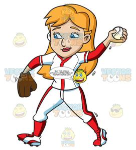 Baseball cartoon cliparts clipart black and white library A Female Baseball Player Pass Throws A Ball clipart black and white library