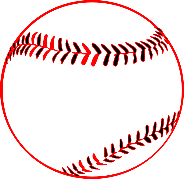 Baseball with bow clipart clipart black and white Red Baseball Clip Art at Clker.com - vector clip art online, royalty ... clipart black and white