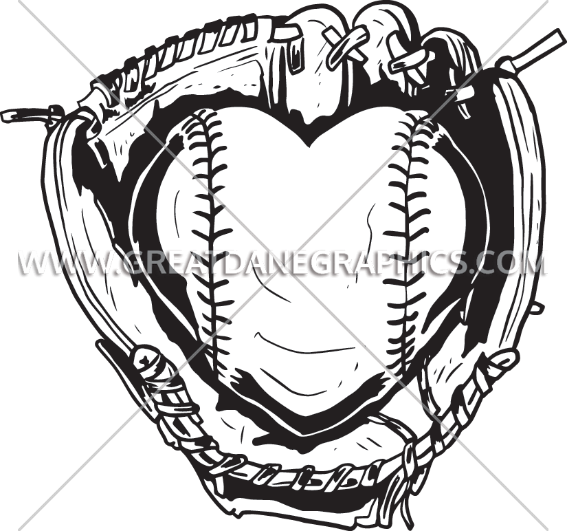 Baseball heart clipart black and white clip art stock Fastpitch Heart | Production Ready Artwork for T-Shirt Printing clip art stock