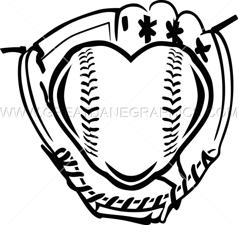 Baseball heart clipart black and white banner black and white library Fastpitch Heart | Production Ready Artwork for T-Shirt Printing banner black and white library