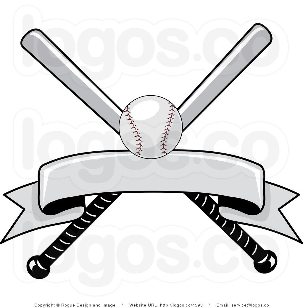 Baseball helment with bats clipart black and white jpg library library Royalty Free Baseball Bat and Ball with Blank Banner Logo | Little ... jpg library library