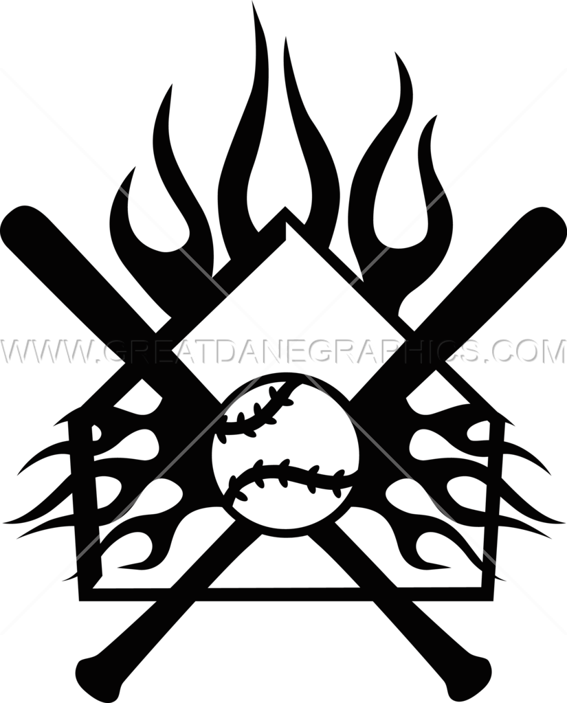Flaming money clipart clipart transparent stock Flaming Home Plate Crest | Production Ready Artwork for T-Shirt Printing clipart transparent stock