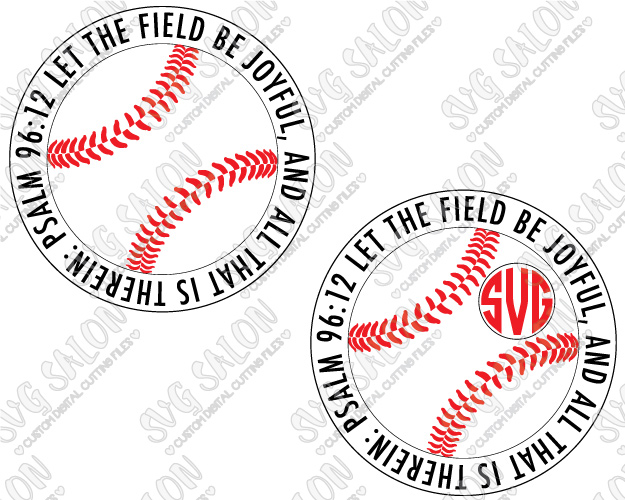 Baseball inside cricle with cross through it clipart clip art stock Let The Field Be Joyful Baseball / Softball Bible Verse Monogram Cutting  File Set in SVG, EPS, DXF, JPEG, and PNG Format clip art stock