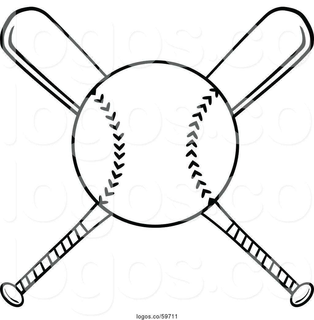 Baseball inside cricle with cross through it clipart clip art transparent library Logo of Cartoon Crossed Black and White Baseball Bats and a Ball by ... clip art transparent library