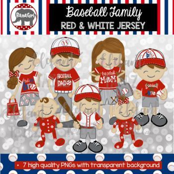 Baseball jersey clipart red clipart free download Baseball Family Clipart - Red & White Jersey - Brown Hair Dad, Mom ... clipart free download