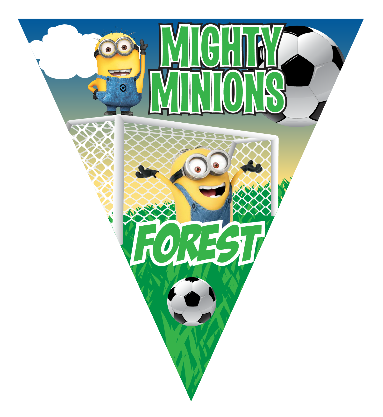 Baseball pennant clipart jpg black and white stock Mighty Minions Triangle Individual Team Pennant - Custom Triangle ... jpg black and white stock