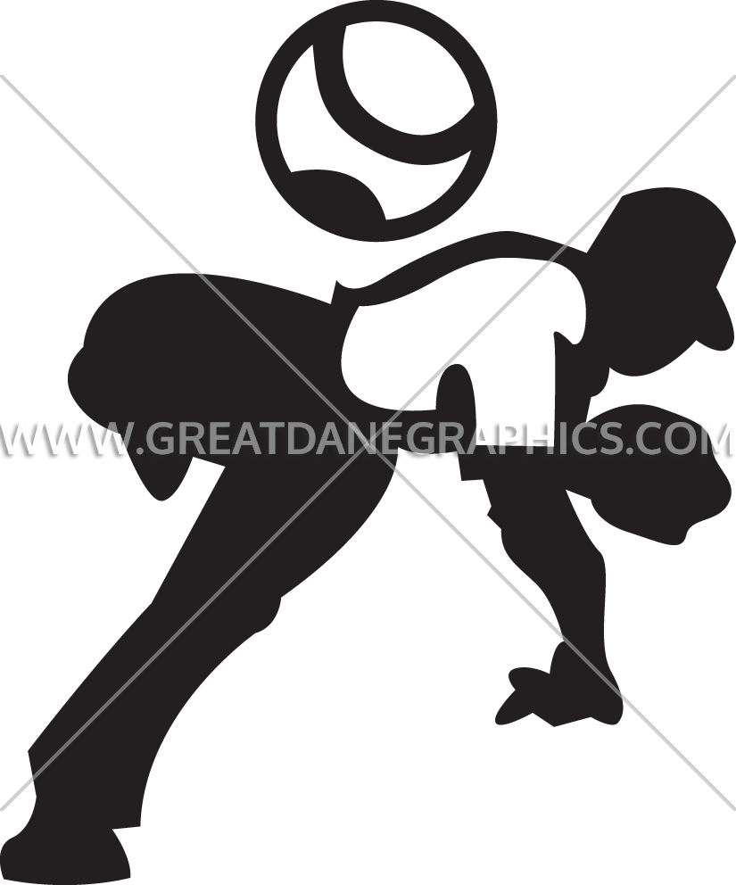 Baseball player pitching clipart picture black and white library Pitching Baseball Player | Production Ready Artwork for T-Shirt Printing picture black and white library