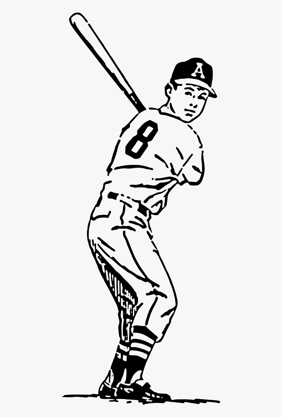 Baseball player clipart drawings picture library download Baseball Player Batter Hitting Png Image - Baseball Player Cartoon ... picture library download