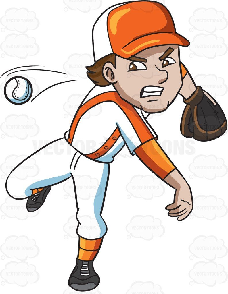 Baseball player clipart drawings graphic royalty free library A baseball player pitching a ball #cartoon #clipart #vector ... graphic royalty free library