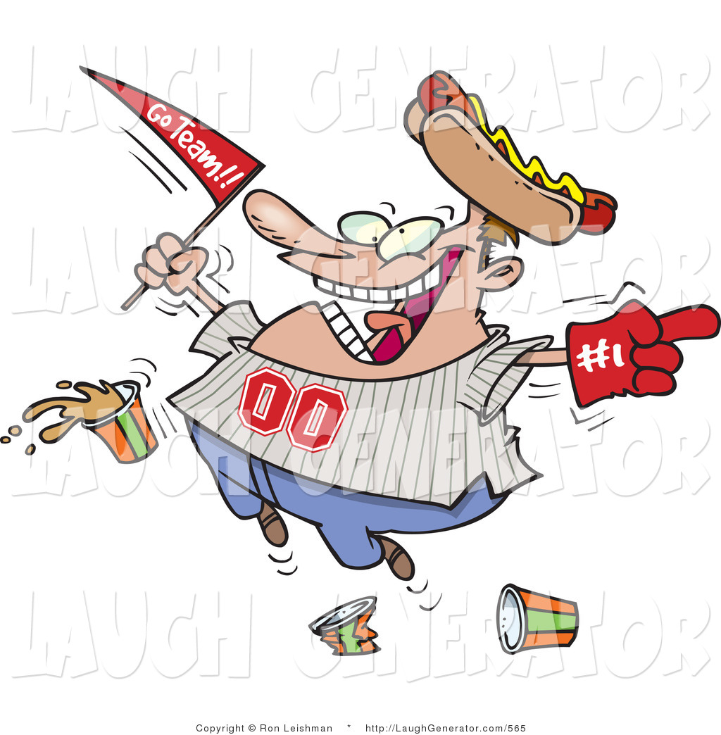 Baseball player fan clipart picture royalty free library Humorous Clip Art of a Male Baseball Fan with a Hot Dog Hat, Flag ... picture royalty free library