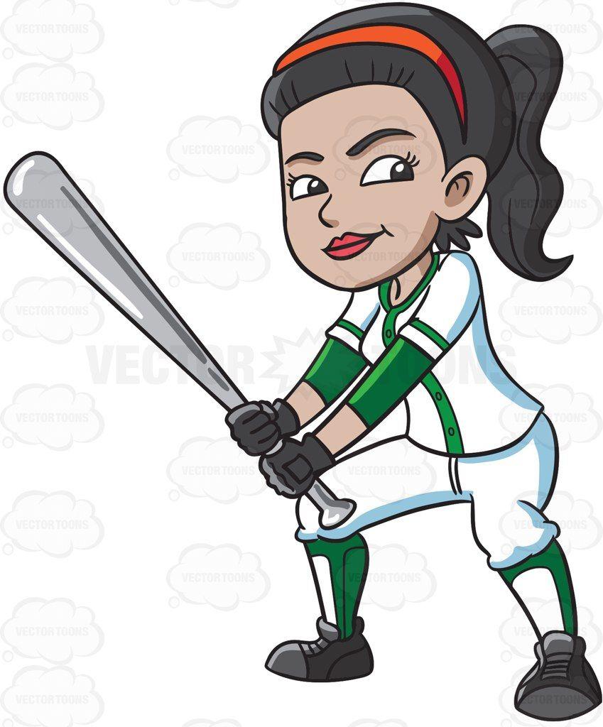 Girl baseball player clipart