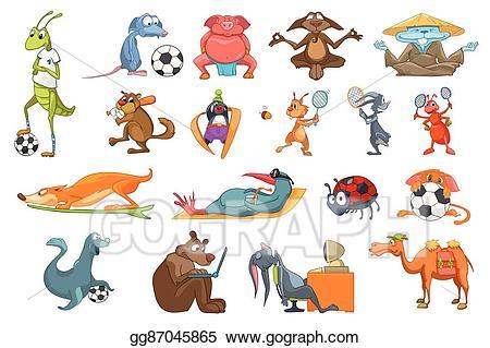 Baseball player meditation clipart image download Clip Art Vector - Vector set of animals sport illustrations. Stock ... image download